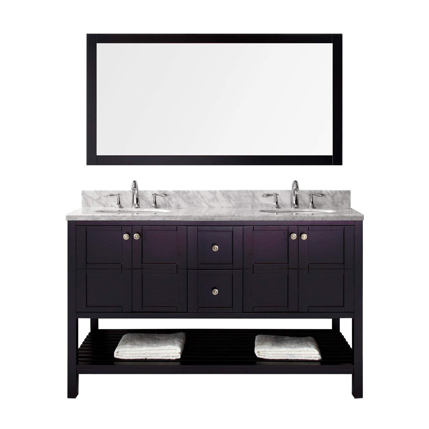 """60"""" Double Bath Vanity in Espresso Finish with Marble Top and Round Sink with Faucet and Mirror Options"""