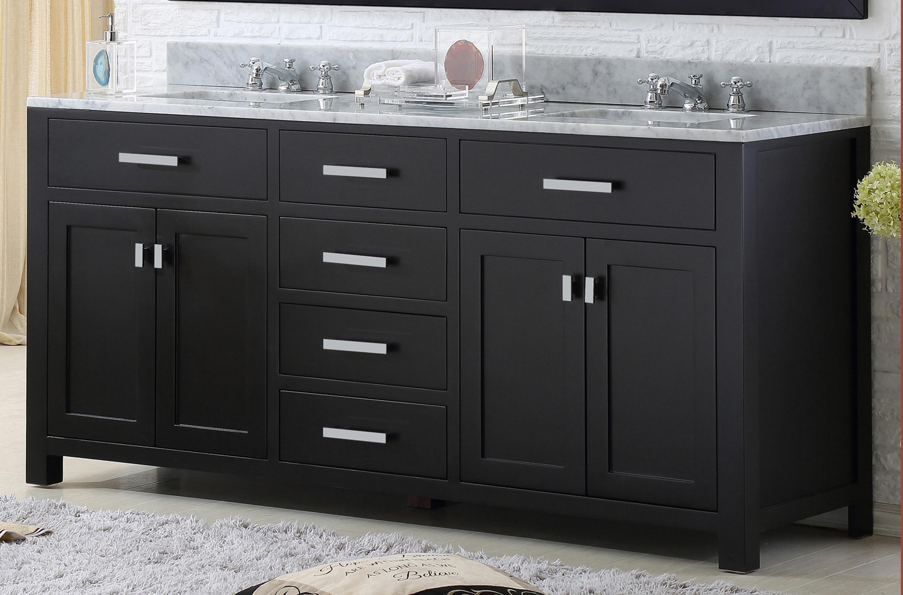 "60"" Espresso Double Sink Bathroom Vanity with White Carrara Marble Top"