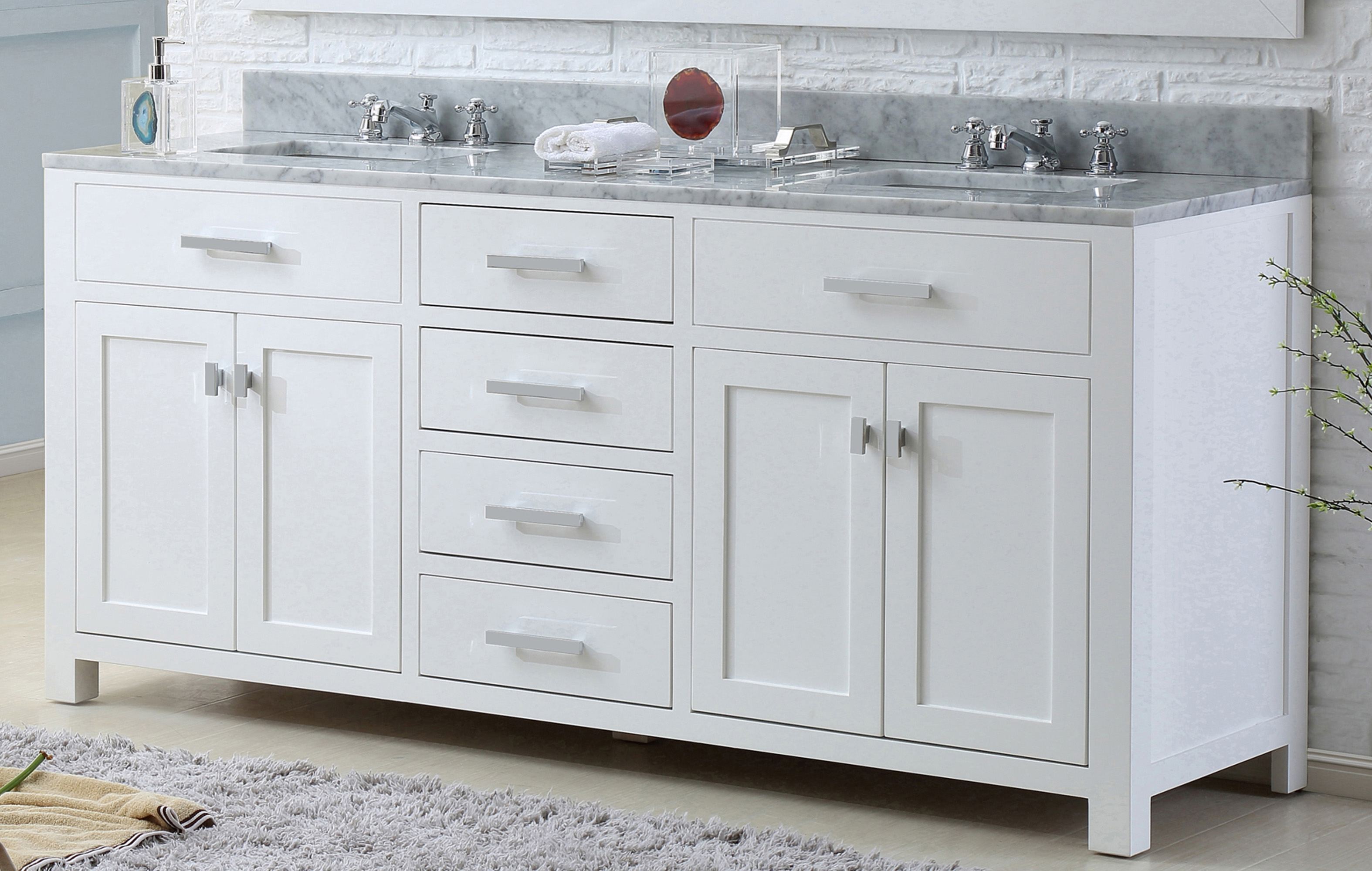 """72"""" Pure White Double Sink Bathroom Vanity with White Carrara Marble Top"""