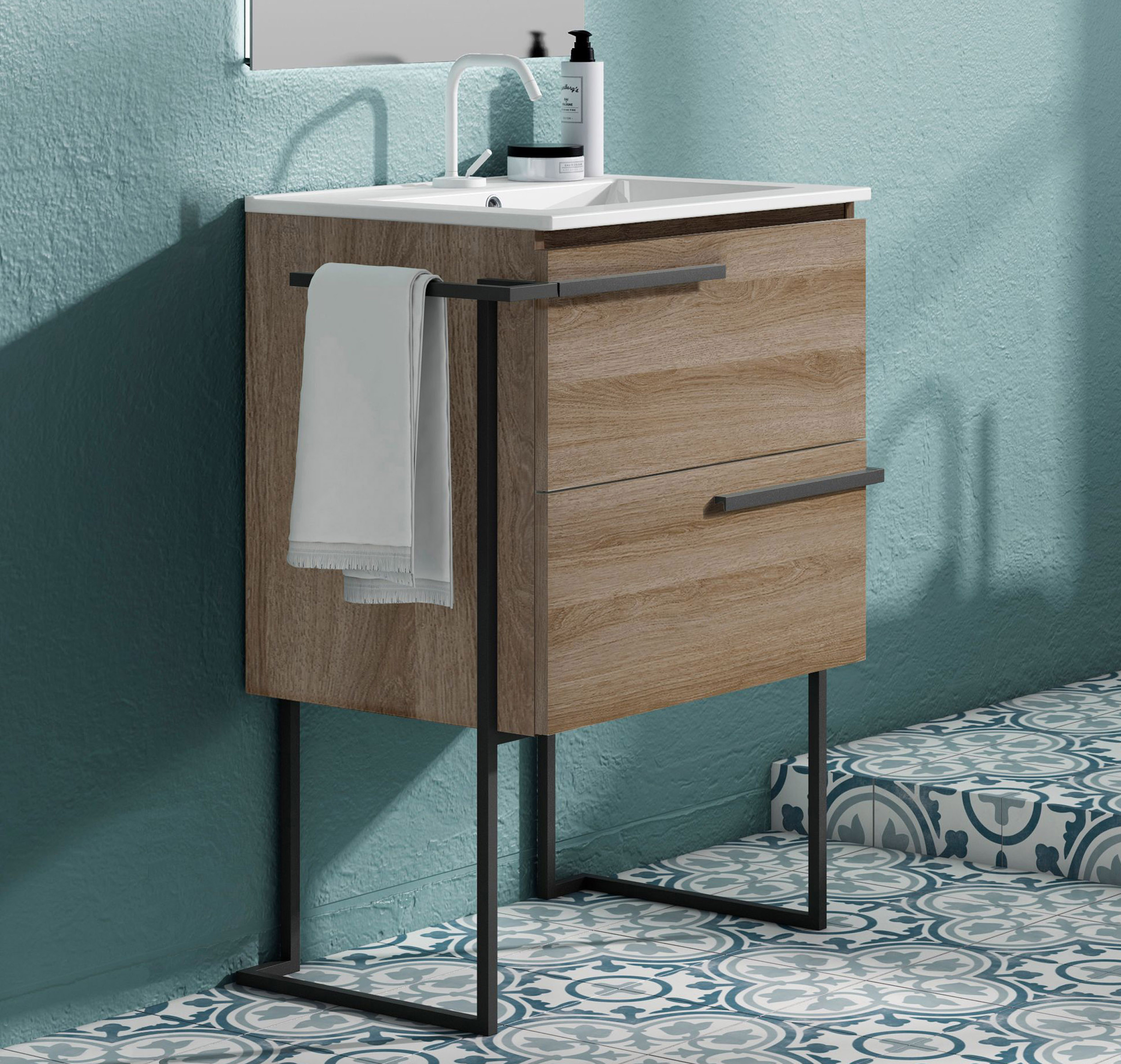 """24"""" Single Sink Vanity 2 Drawer, Ceramic Sink with Metal Legs and Towel Bar and 4 Color Options"""