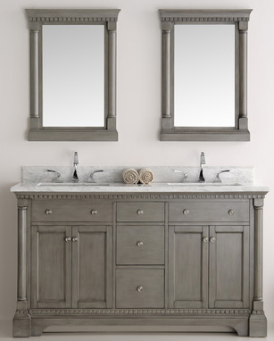 """61"""" Silver Grey Double Traditional Bathroom Vanity in Faucet Option"""