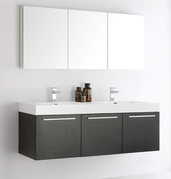 Fresca Vista 60 Black Wall Hung Double Sink Modern Bathroom Vanity With Faucet Medicine Cabinet And Linen Side Option