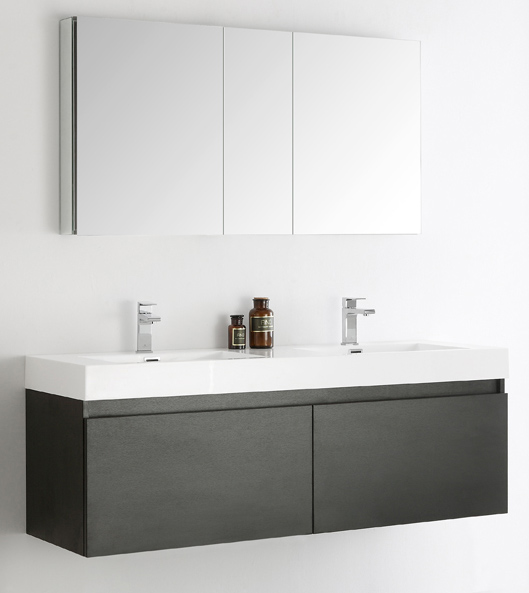 """60"""" Black Wall Hung Double Sinks Modern Bathroom Vanity with Faucet, Medicine Cabinet and Linen Side Cabinet Option"""