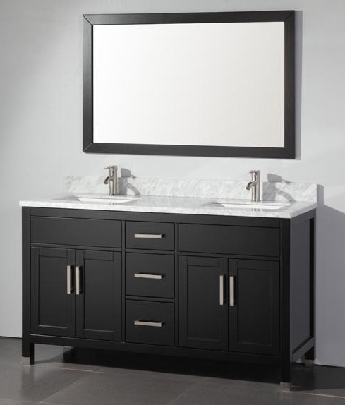 Adelina 60 inch Contemporary Espresso Finish Double Sink Bathroom Vanity