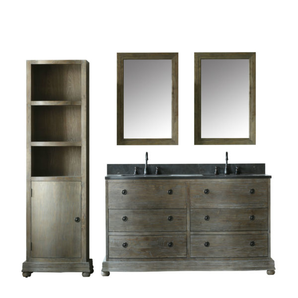 60 inch Distressed Solid Elm Wood Double Sink Bathroom Vanity