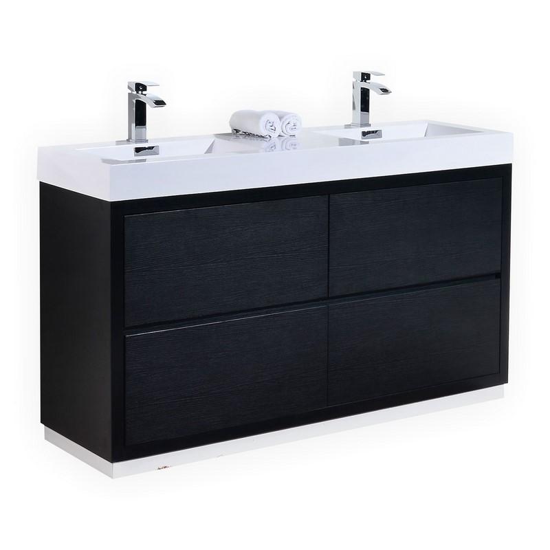 """Kubebath Bliss 60"""" Double  Sink Black Free Standing Modern Bathroom Vanity"""