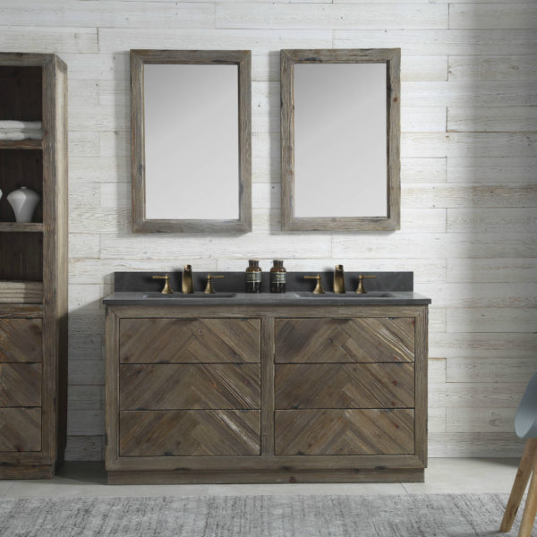 60 inch Double Sink Rustic Finish Bathroom Vanity Moon Stone Granite Top