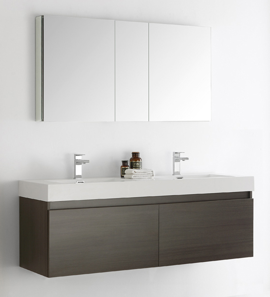 "Fresca Mezzo 60"" Gray Oak Wall Hung Double Sink Modern Bathroom Vanity with Faucet, Medicine Cabinet and Linen Side Cabinet Option"