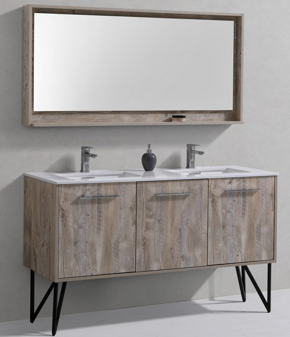 60 inch Nature Wood Double Sink Bathroom Vanity with Quartz Top Matching Mirror