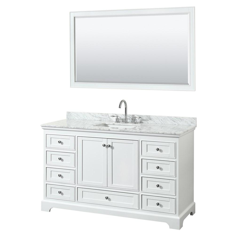 60 inch Transitional White Finish Bathroom Vanity Set