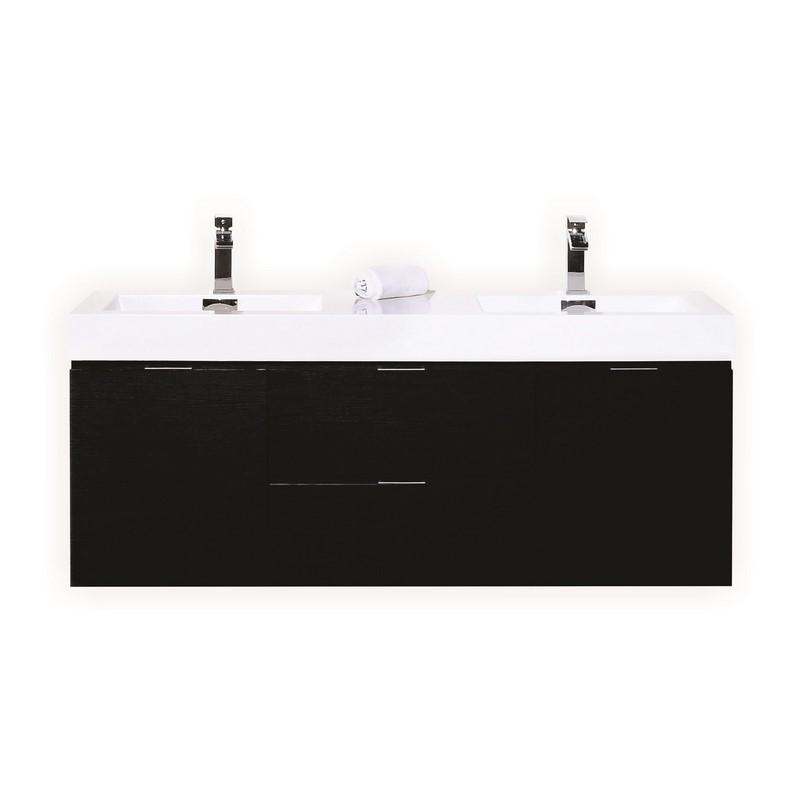 60 inch black bathroom vanity.  Kubebath Bliss 60 Double Sink Black Wall Mount Modern Bathroom Vanity