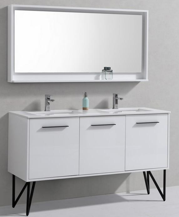 "Modern Lux 60"" High Gloss White Double Sink Modern"