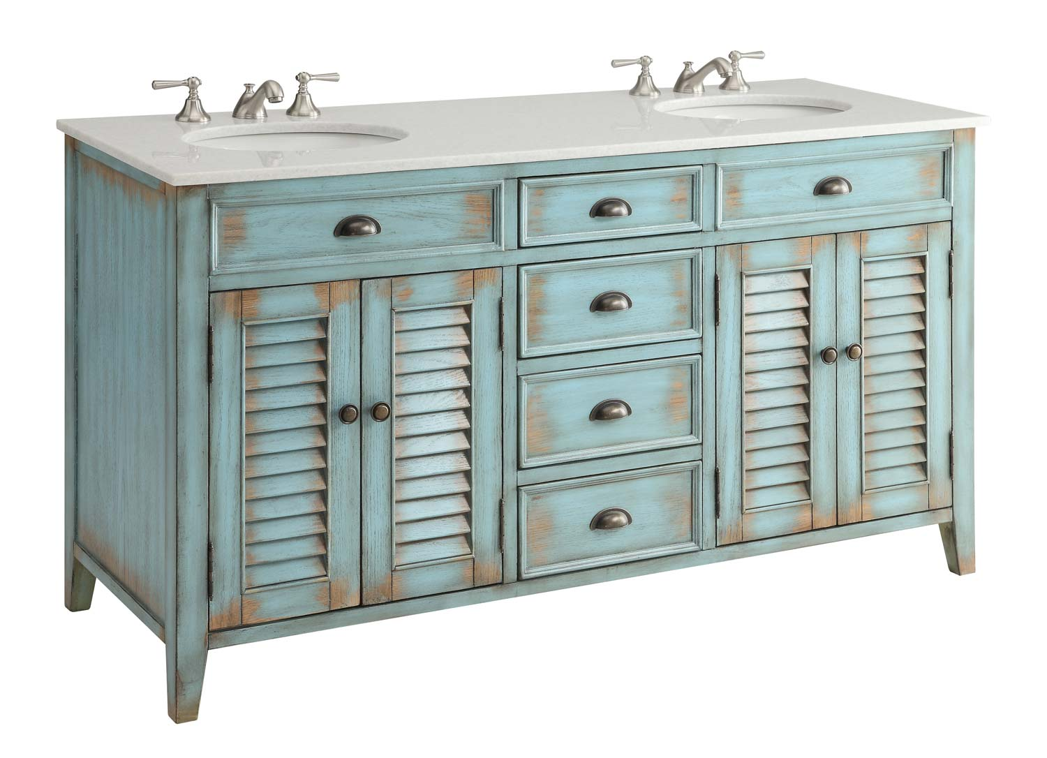 Adelina 60 inch antique double sink bathroom vanity for Antique white double sink bathroom vanities