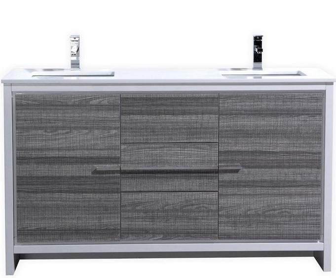Modern Bathroom Vanities On Sale 60 inch ash gray modern double sink bathroom vanity with white