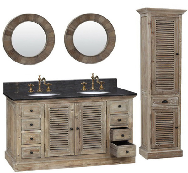 60 Inch Double Sink Rustic Bathroom Vanity With Matte Ash Limestone Top