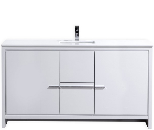 Modern Lux 60 High Gloss White Bathroom Vanity With Quartz Counter Top