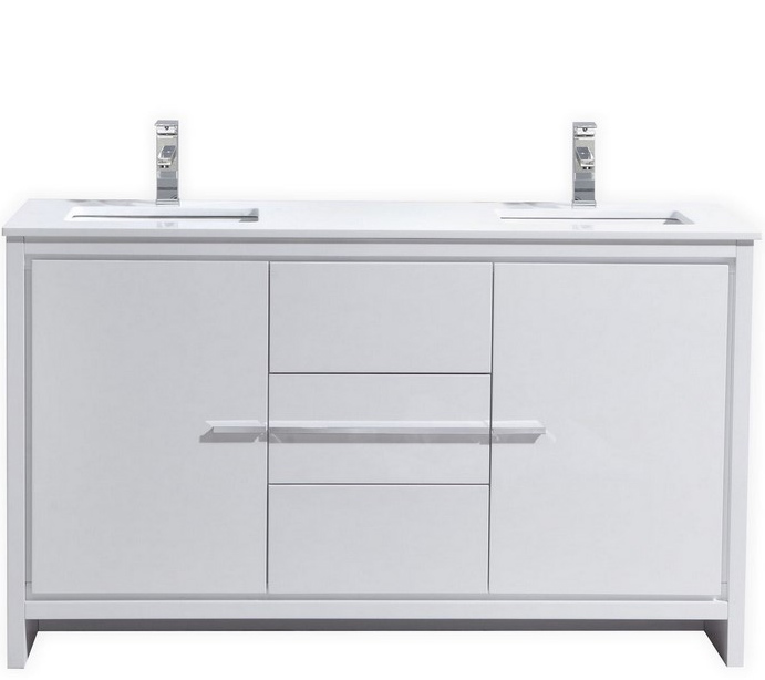 Modern Lux 60 Double Sink High Gloss White Modern Bathroom Vanity