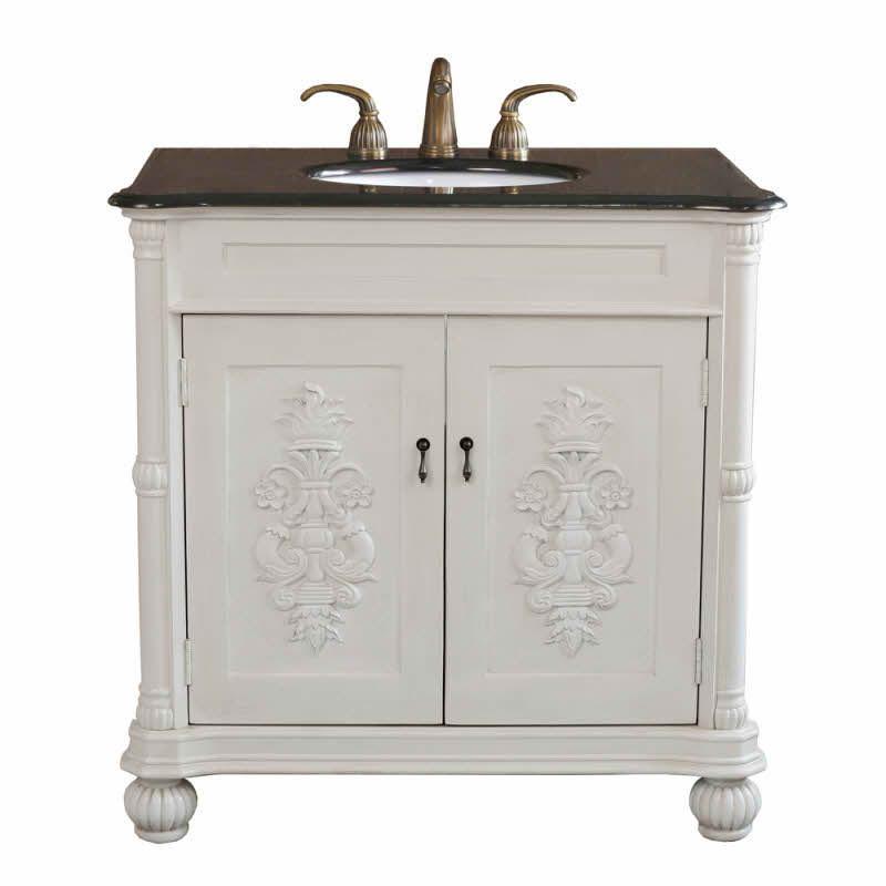 The Bella Collection 36 inch White Bathroom Single Vanity Black Granite Countertop