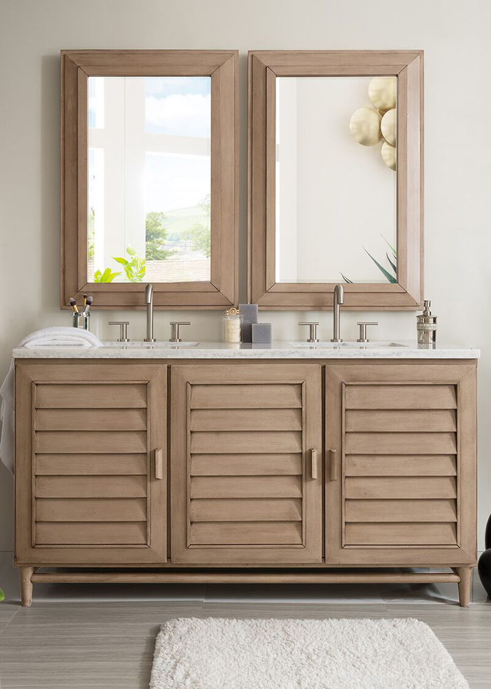 """James Martin Portland Collection 60"""" Double Vanity, White Washed Walnut"""