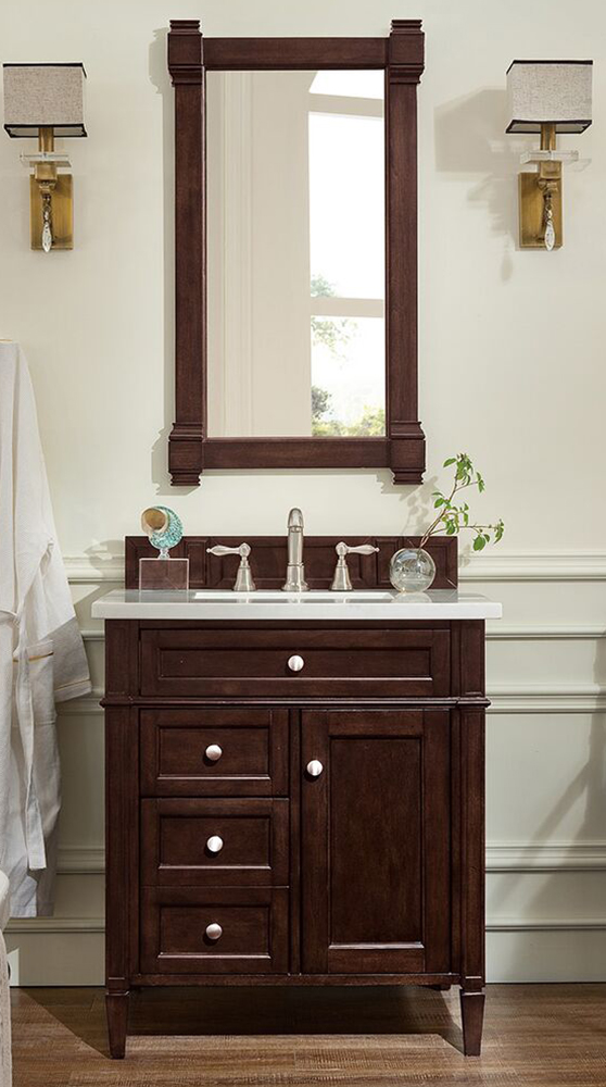 "James Martin Brittany Collection 30"" Single Vanity, Burnished Mahogany"
