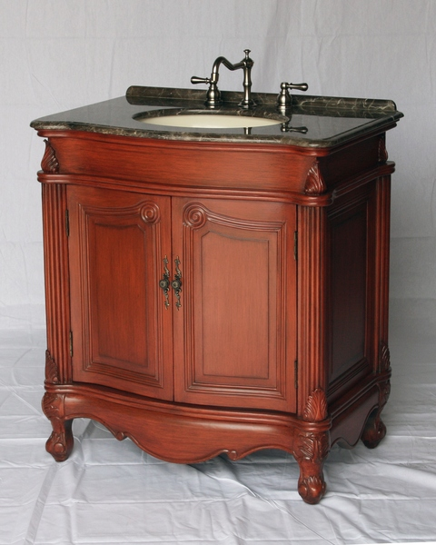 """32"""" Adelina Antique Single Sink Bathroom Vanity in Cherry Finish with Light Brown Stone Countertop"""