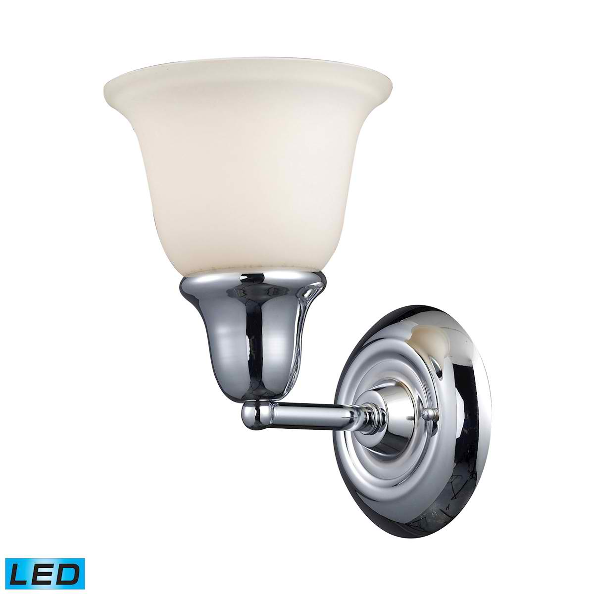 Berwick 1-Light Vanity in Polished Chrome - LED Offering Up To 800 Lumens (60 Watt Equivalent) With