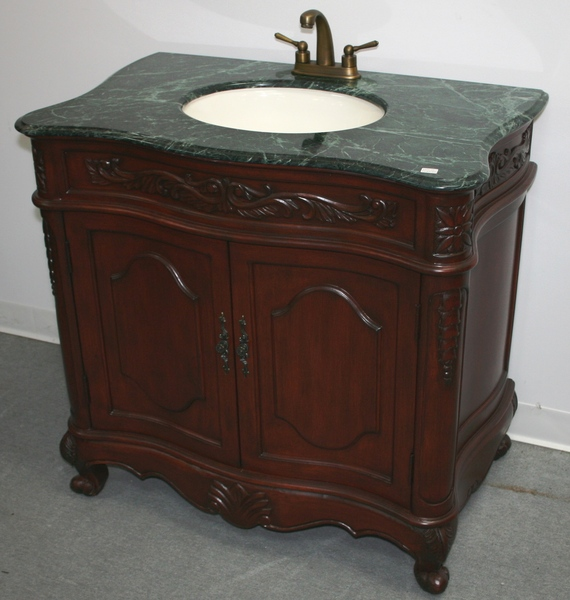 "36"" Adelina Antique Style Single Sink Bathroom Vanity in Cherry Finish with Green Stone Countertop"