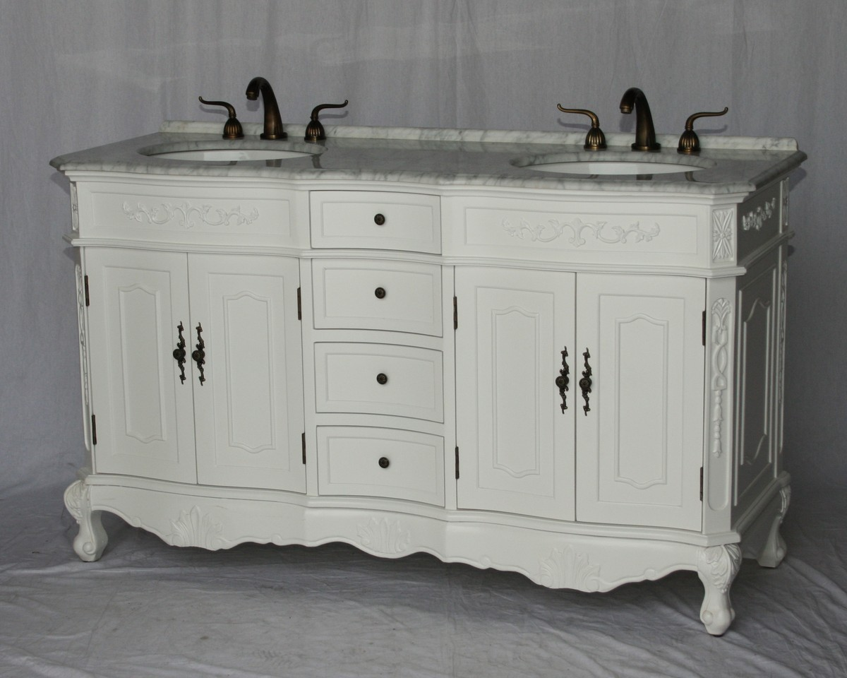 """60"""" Adelina Antique Style Double Sink Bathroom Vanity in Pure White Finish with White Italian Carrara Marble Countertop and Oval White Porcelain Sinks"""