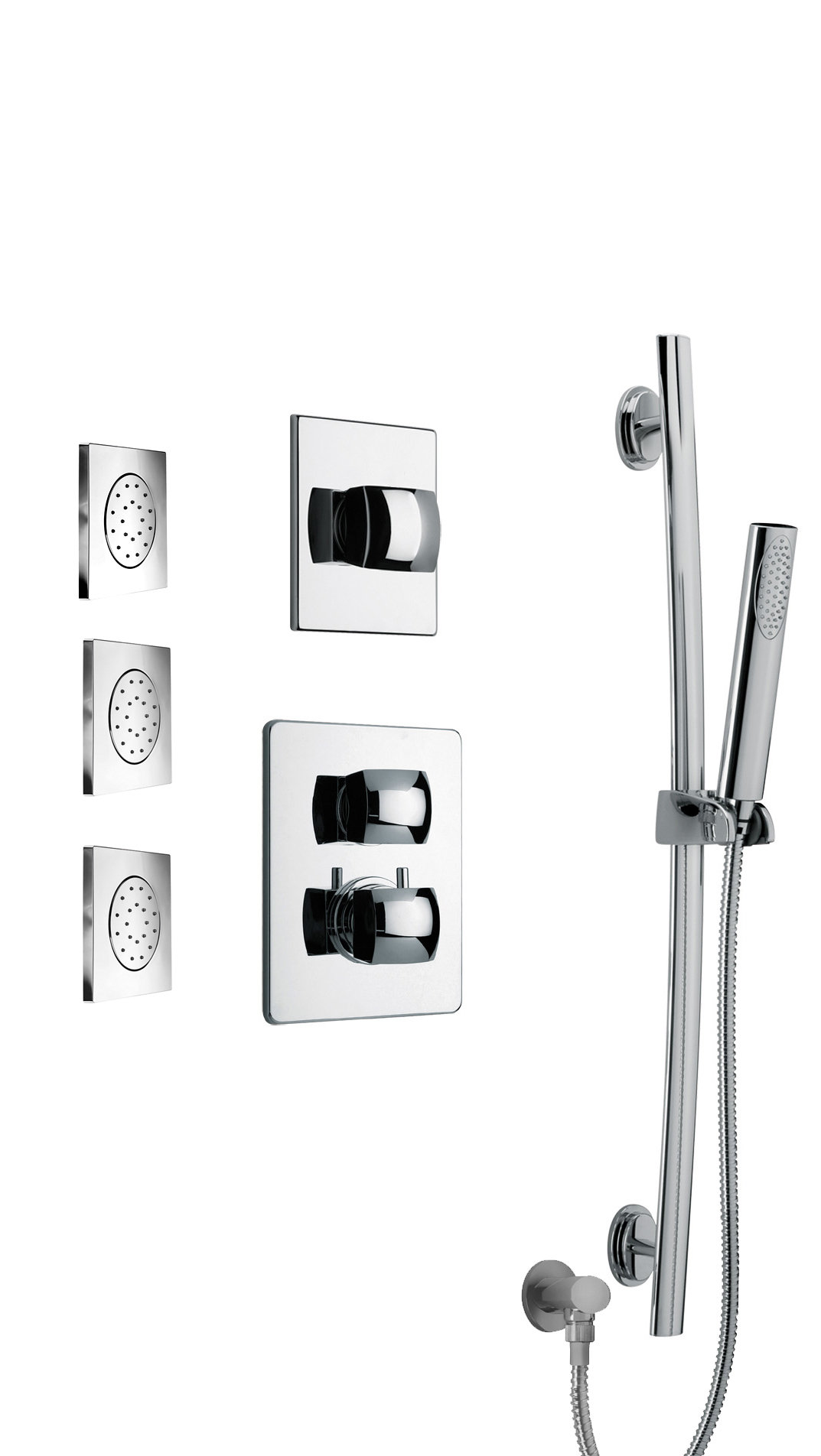 """Thermostatic Shower With 3/4"""" Ceramic Disc Volume Control, 3-Way Diverter, Slide Bar and 3 Concealed Body Jets in Chrome"""