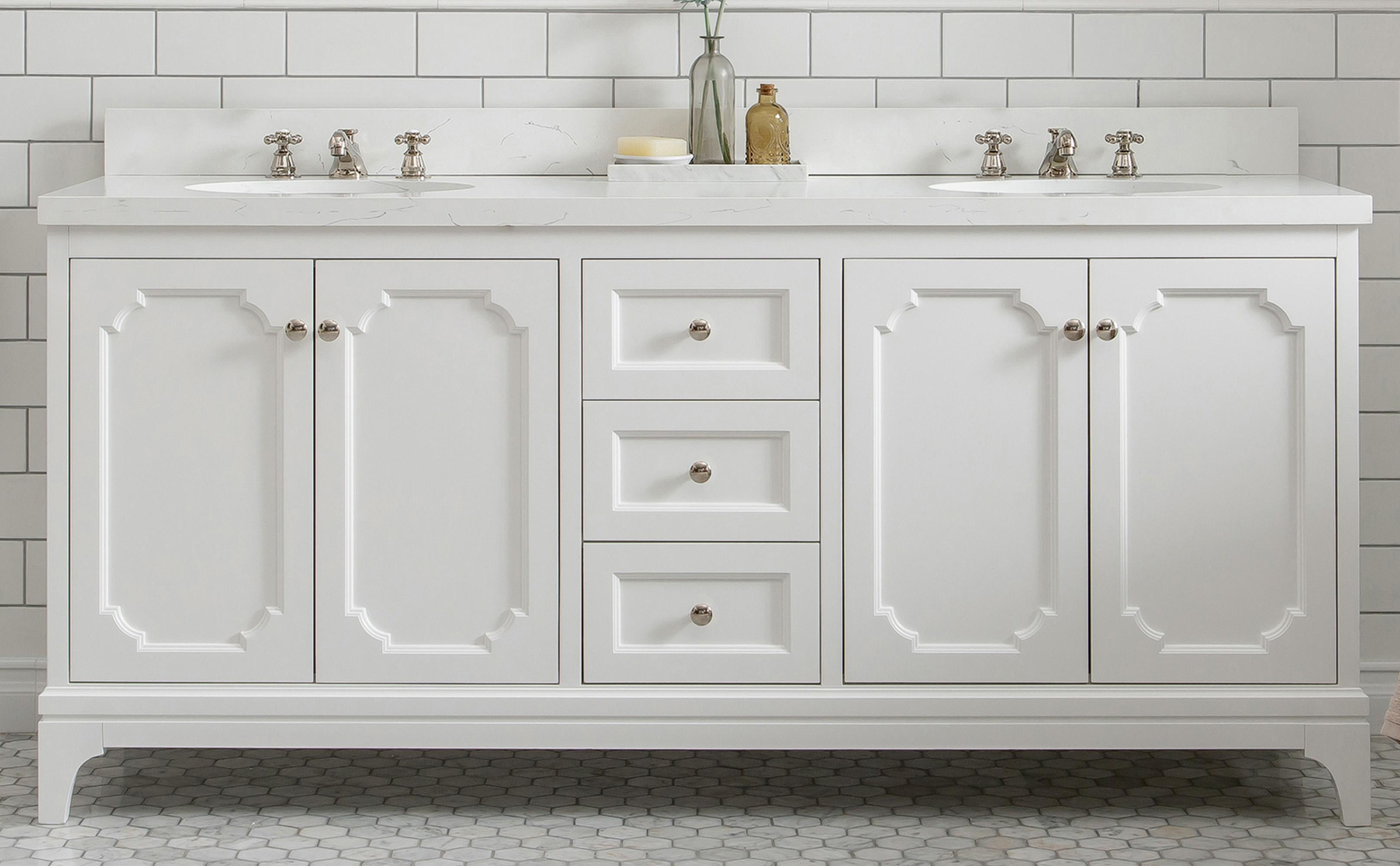 "72"" Double Sink Quartz Carrara Vanity In Pure White"