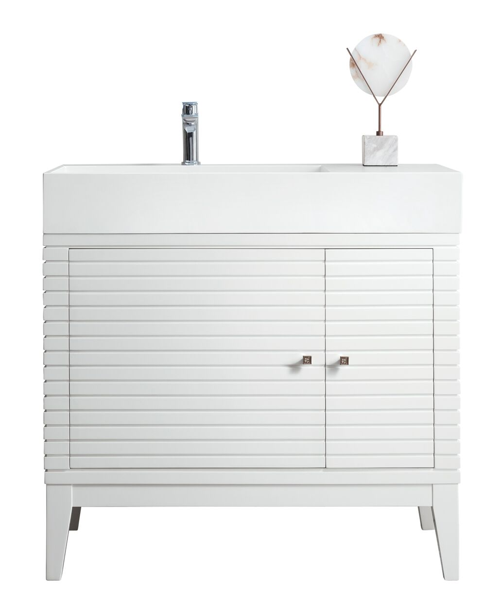 """James Martin Linear Collection 36"""" Single Vanity, Glossy White Finish"""