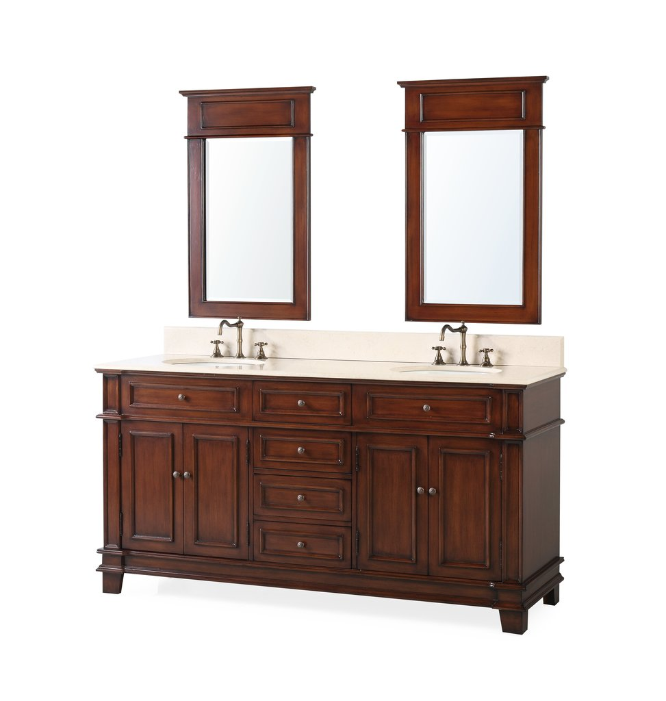 "70"" Timeless Classic Double Sink Bathroom Vanity & Mirrors Set"