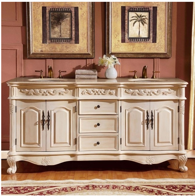 Silkroad 33 inch antique white double sink bathroom vanity for Antique white double sink bathroom vanities
