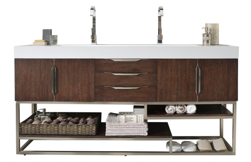 72 inch Double Bathroom Vanity Coffee Oak Finish with Integrated Sink Top
