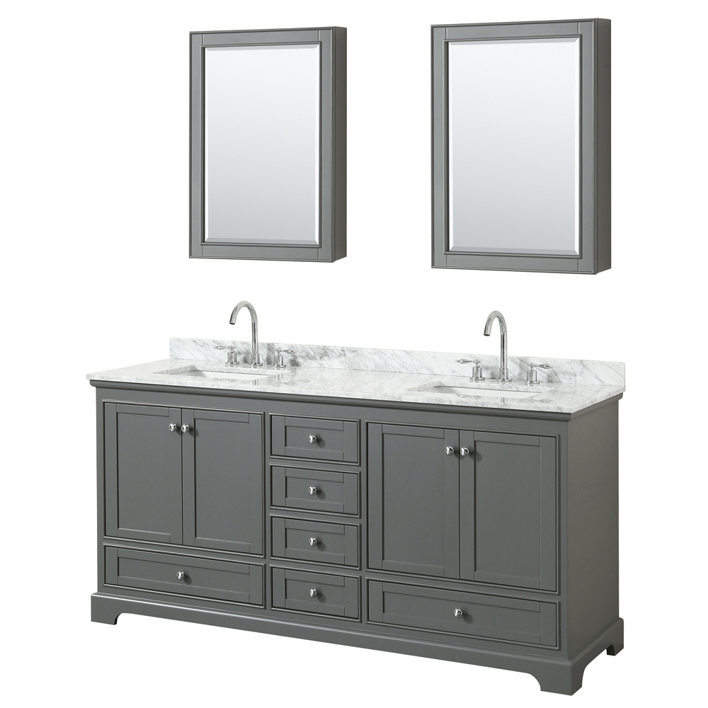 72 inch Double Sink Transitional Grey Finish Bathroom Vanity Set
