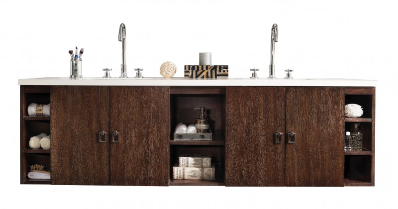 72 inch Floating Double Sink Bathroom Vanity Coffee Oak Finish