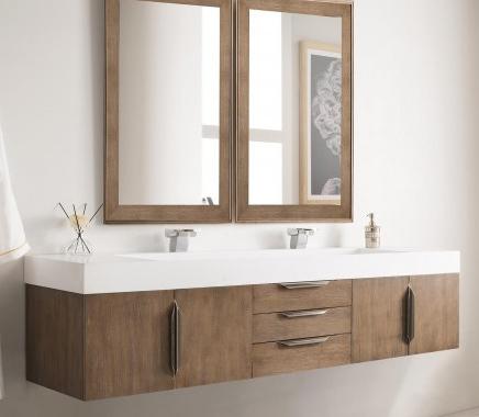 72 inch Wall Mounted Double Bathroom Vanity Latte Oak Finish