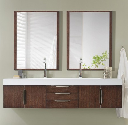72 inch Wall Mounted Double Bathroom Vanity Coffee Oak Finish
