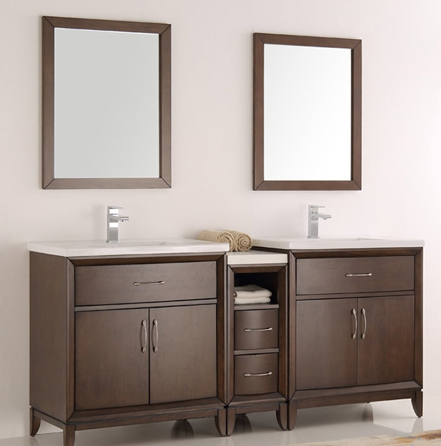 """72"""" Antique Coffee Double Sink Traditional Bathroom Vanity in Faucet Option"""