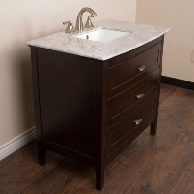 """The Bella Collection 36"""" in Single Sink Vanity Wood Sable Walnut with Quartz Top Options"""