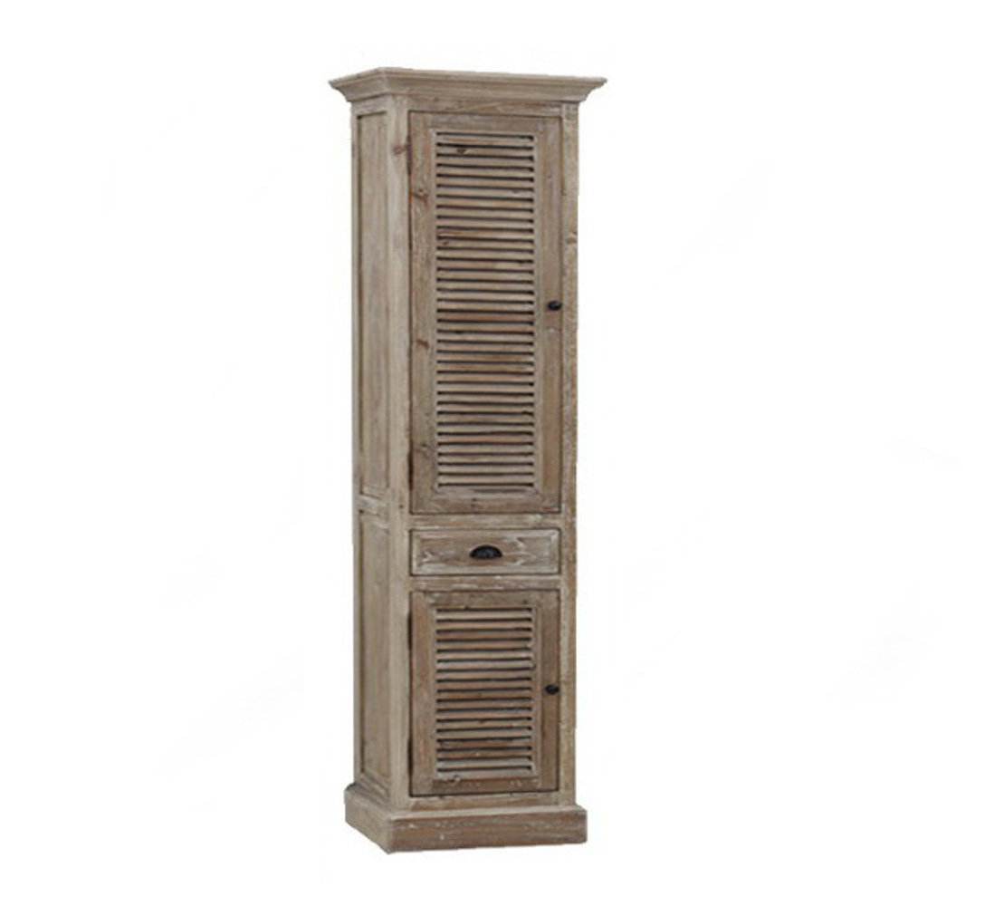 79 inch Distressed Linen Cabinet Rustic Finish