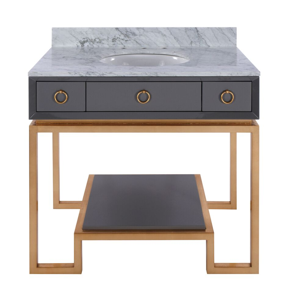 "36.5"" Isaac Edwards Collection Grey Lacquer Bath Vanity Base 2 Drawers with Backsplash and Hardware Option"