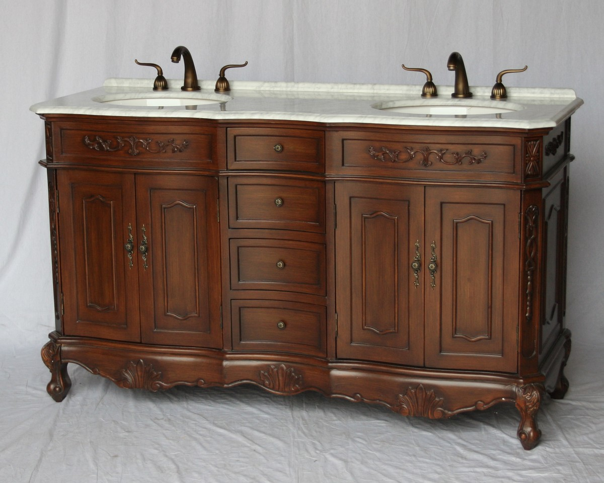 "60"" Adelina Antique Style Double Sink Bathroom Vanity in Walnut Finish with White Italian Carrara Marble Countertop and Oval White Porcelain Sinks"