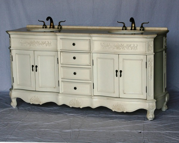 """72"""" Adelina Antique Style Double Sink Bathroom Vanity in Antique White Finish with Beige Stone Countertop with Med Cab"""