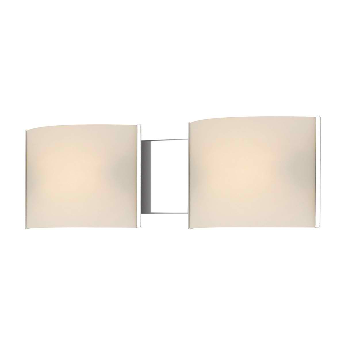 Pannelli Vanity - 2 Light with Lamps. White Opal Glass / Chrome Finish