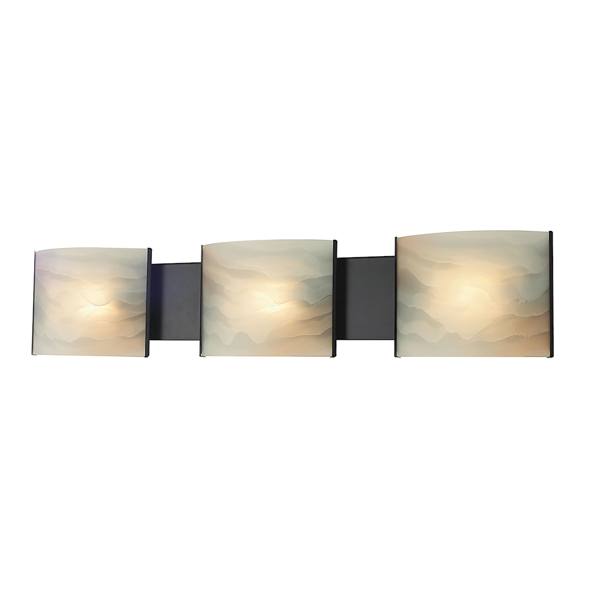 Pannelli Vanity - 3 Light with Lamps. Honey Alabaster Glass / ORB Finish