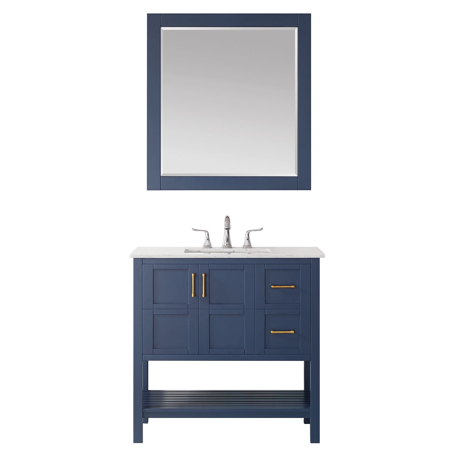 """36"""" Vanity in RoyalBlue with Carrara White Marble Countertop Without Mirror"""