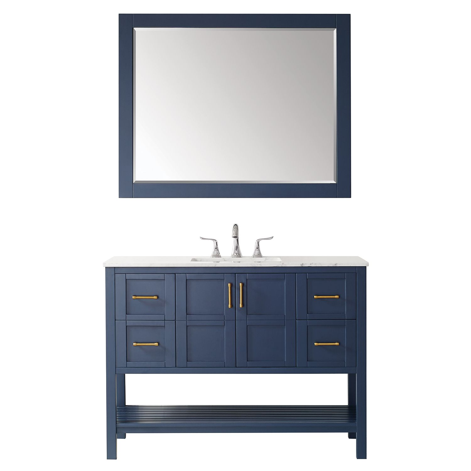 """48"""" Vanity in RoyalBlue with Carrara White Marble Countertop With Mirror"""