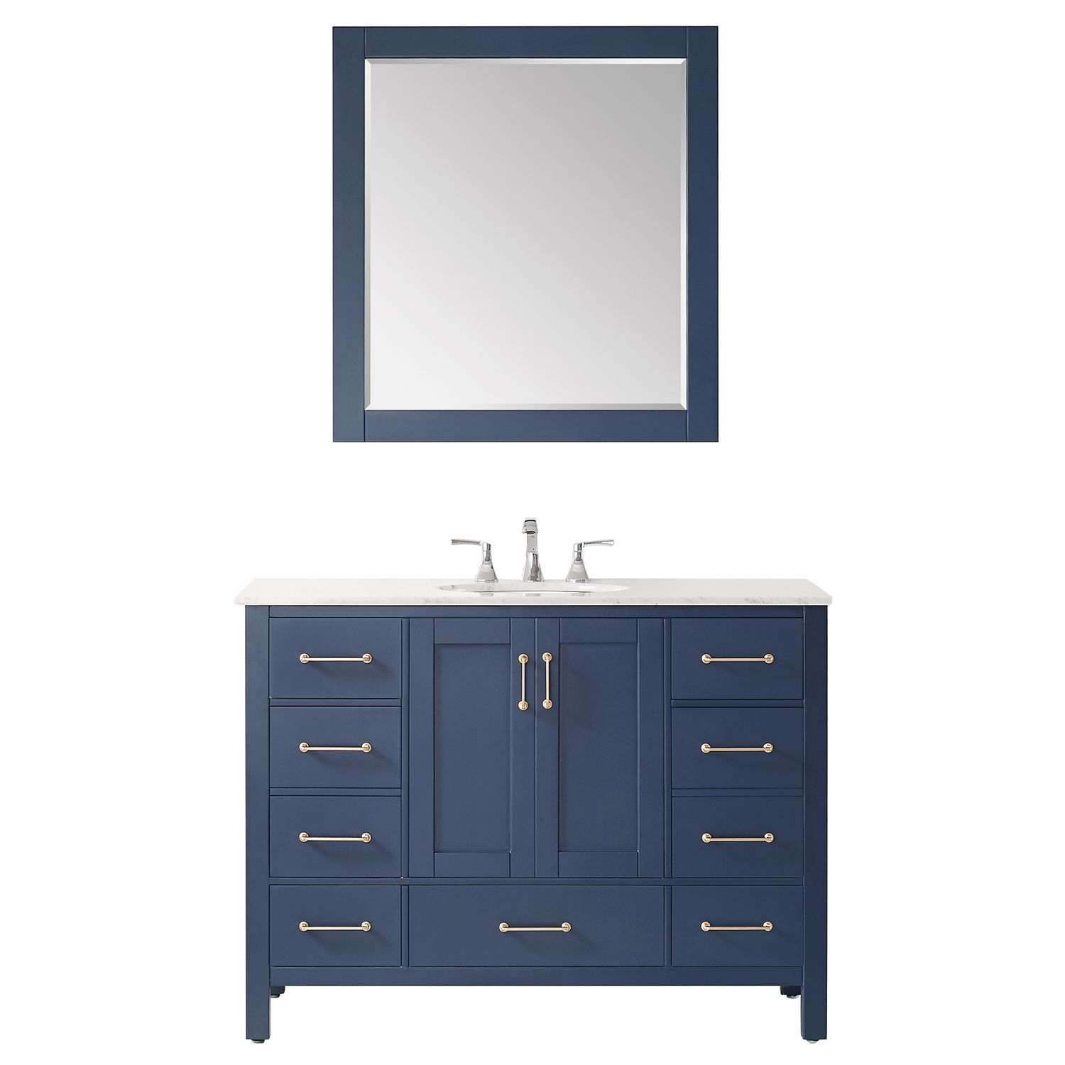 """48"""" Single Vanity in RoyalBlue with Carrara White Marble Countertop With Mirror"""