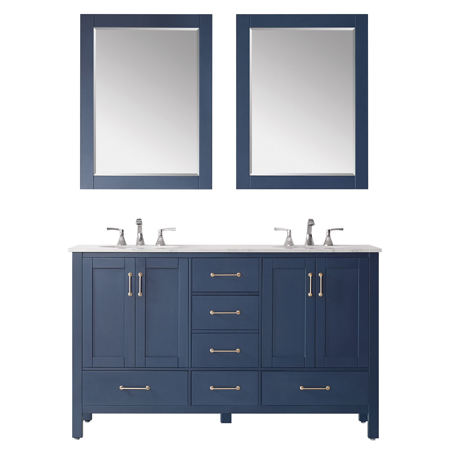"""60"""" Double Vanity in RoyalBlue with Carrara White Marble Countertop With Mirror"""